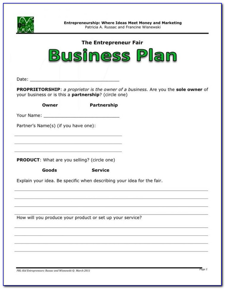 Simple Business Plan Example Doc