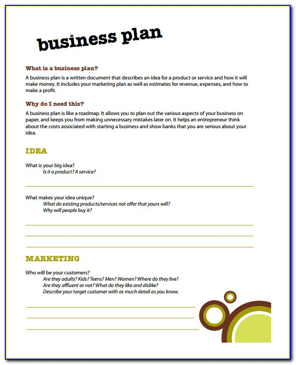Simple Business Plan Example Word