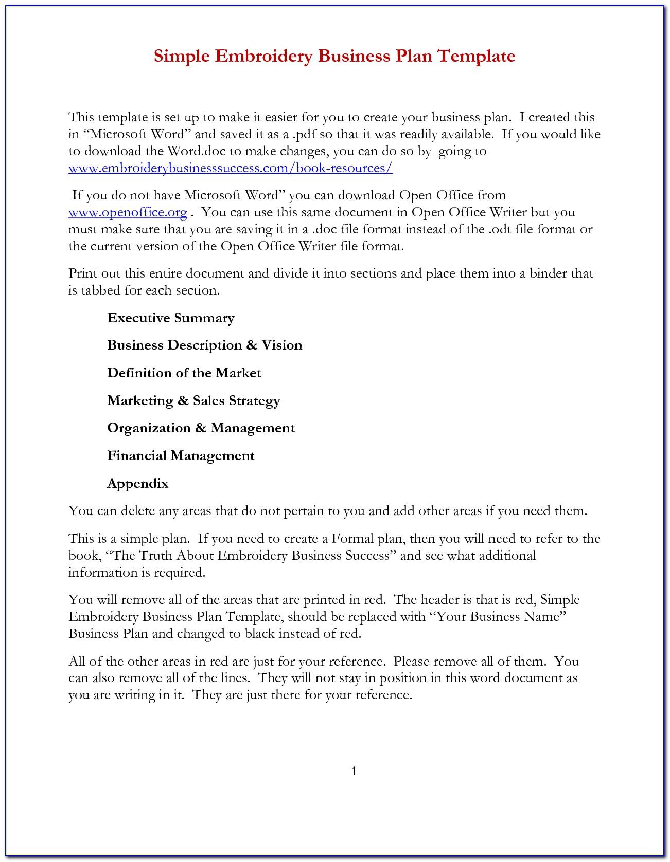 Simple Business Plan Template Microsoft Word