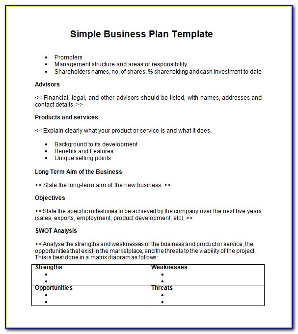 Simple Business Plan Template Word Free