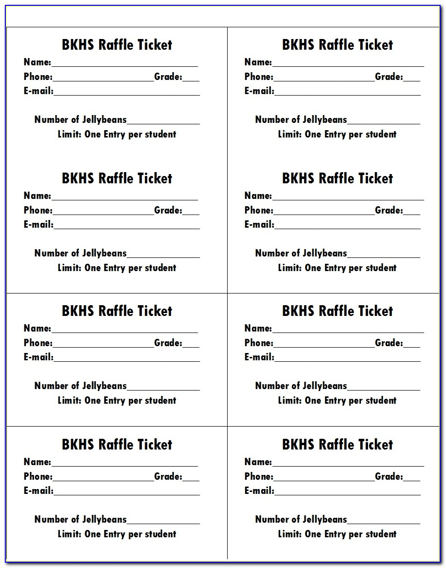 Simple Raffle Ticket Template Word