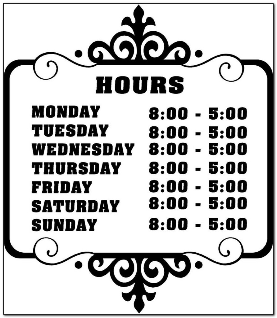 Store Hours Sign Template Free