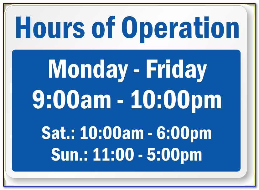 Store Hours Sign Template