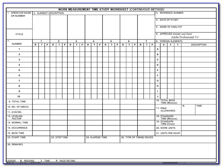 Time Motion Study Template Excel Download