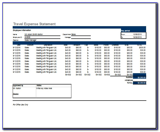 Travel Expense Report Form