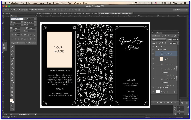 Tri Fold Menu Template Illustrator