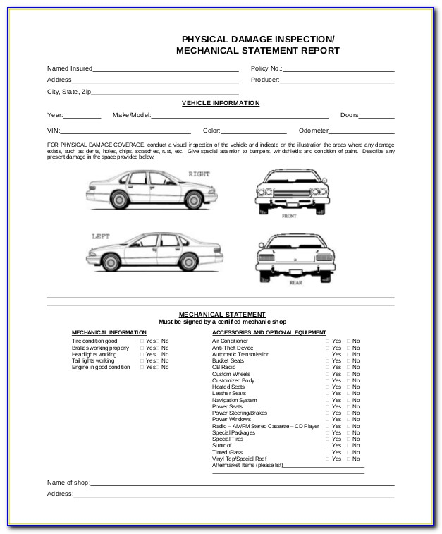 Uber Vehicle Inspection Form Template
