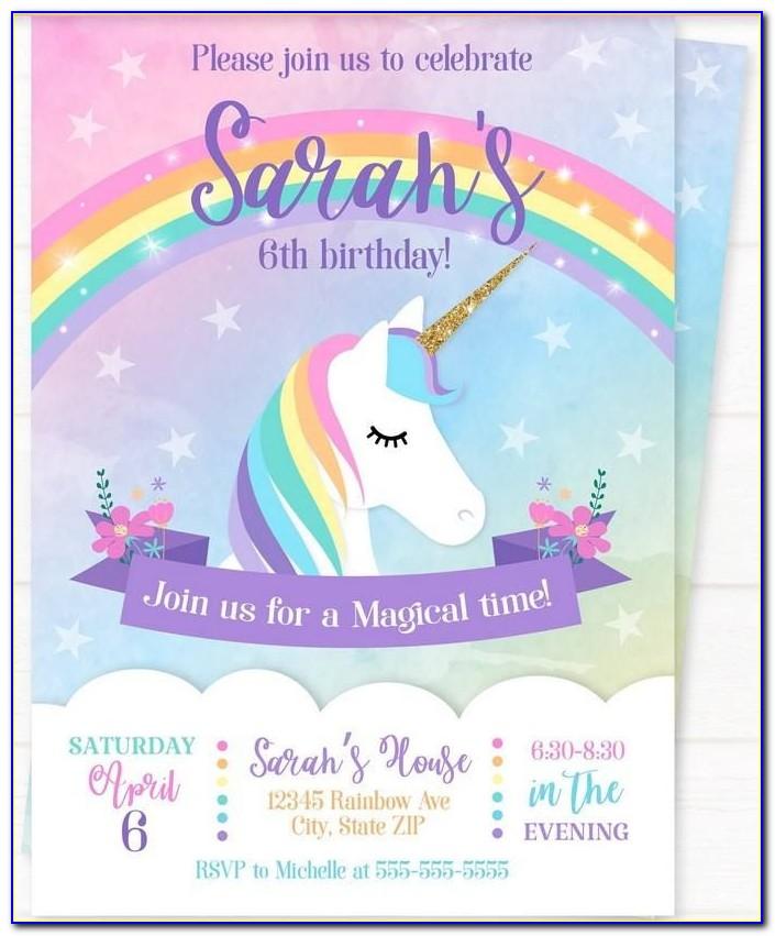 Unicorn Birthday Invitation Card Template Free