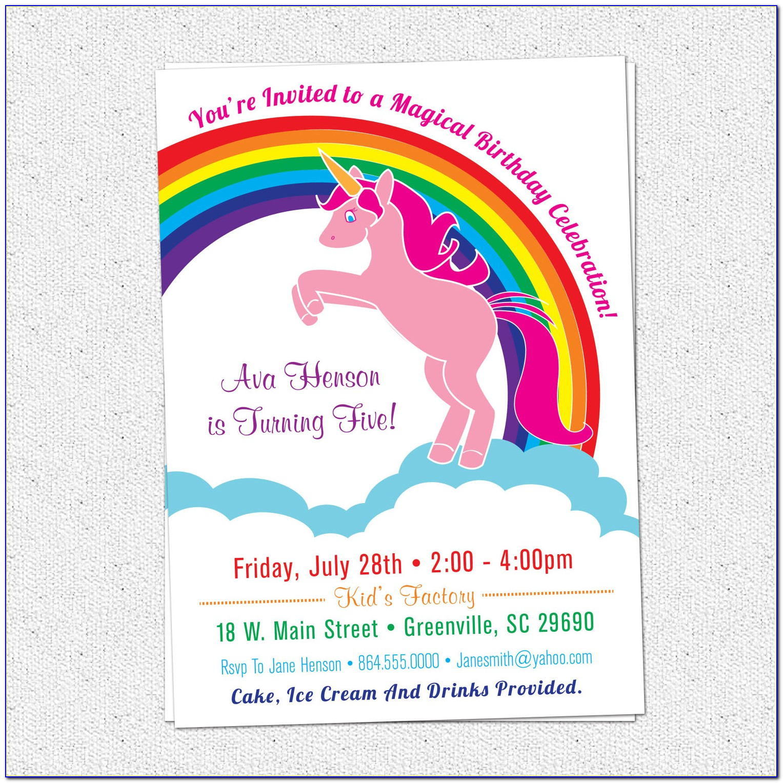 Unicorn Invitation Card Template Free
