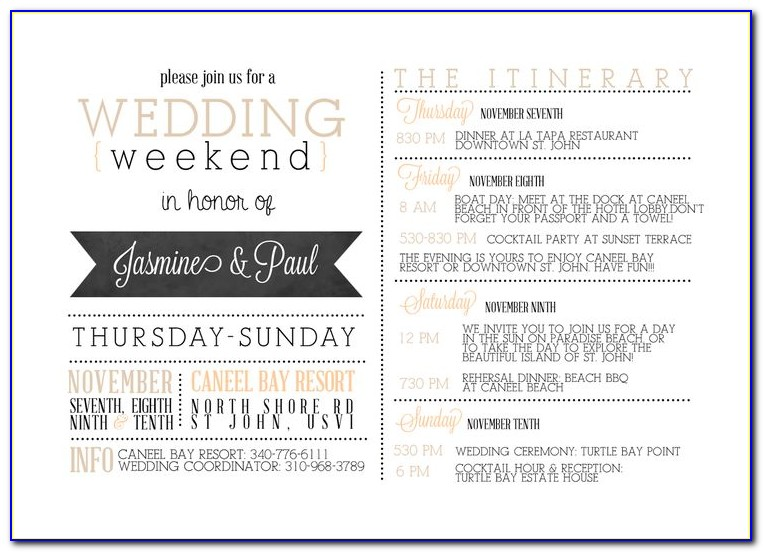 Wedding Day Itinerary Template Pdf