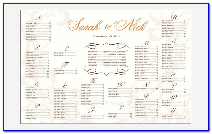 Wedding Reception Seating Chart Template Powerpoint