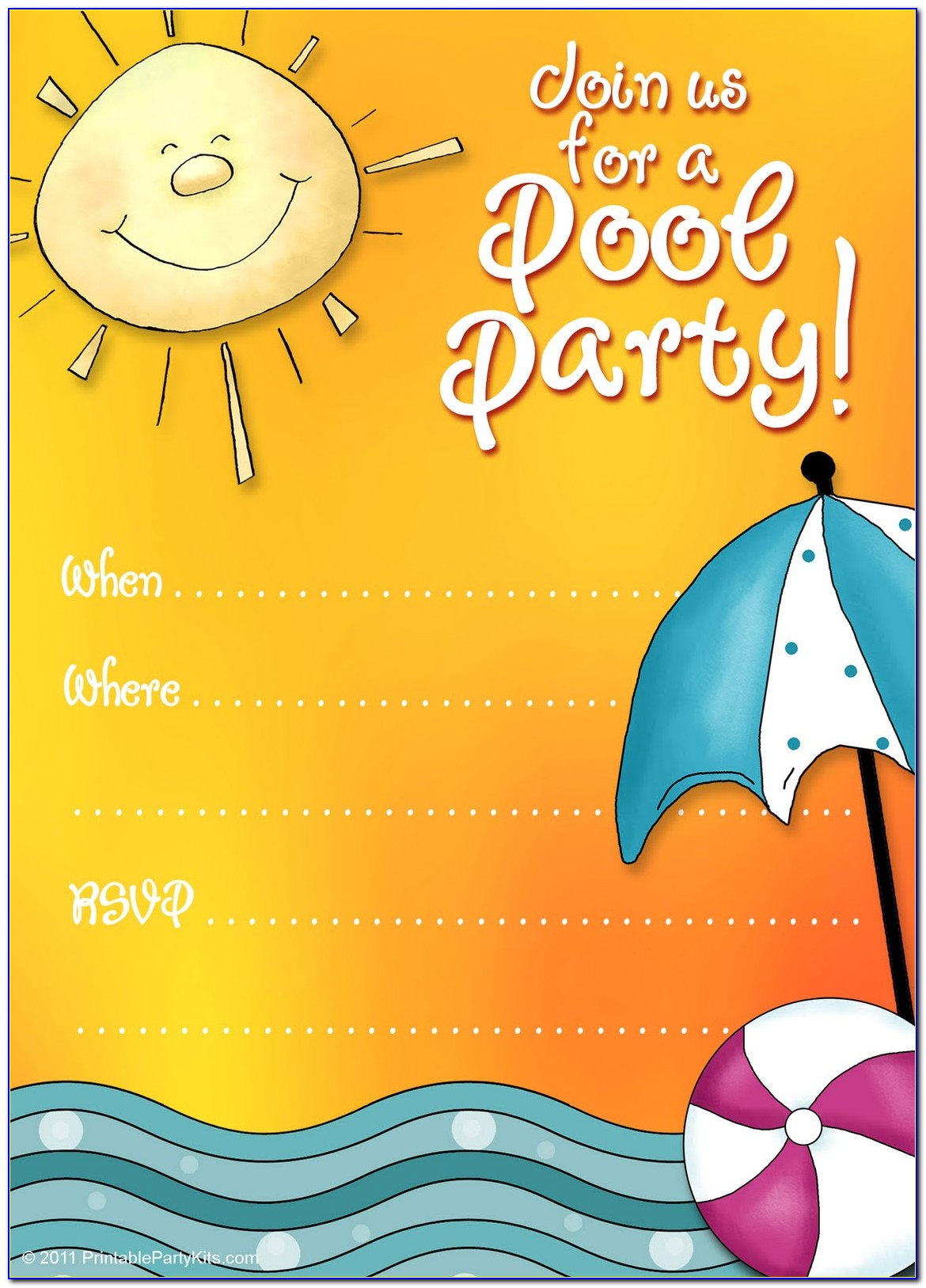 Winter Pool Party Invitations Templates Free