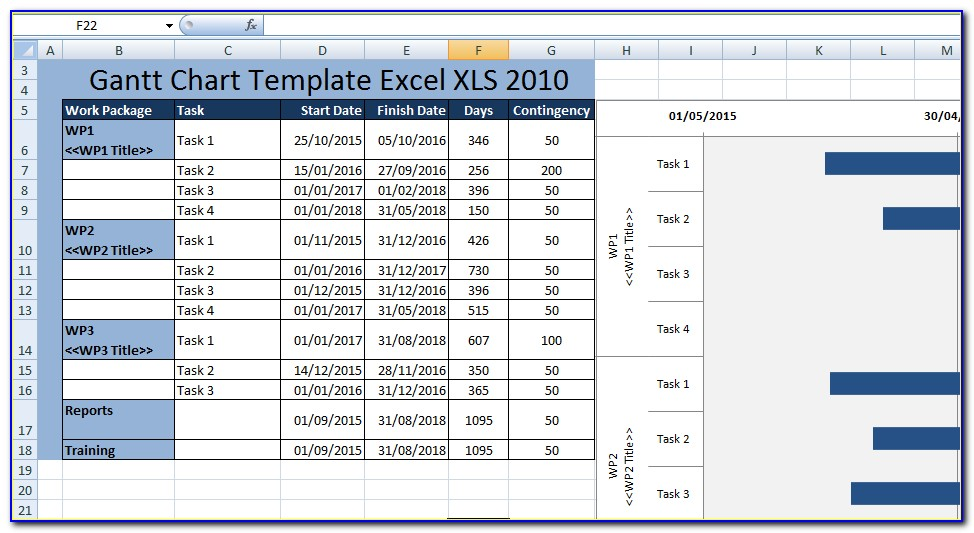 Yearly Gantt Chart Excel Template Xls
