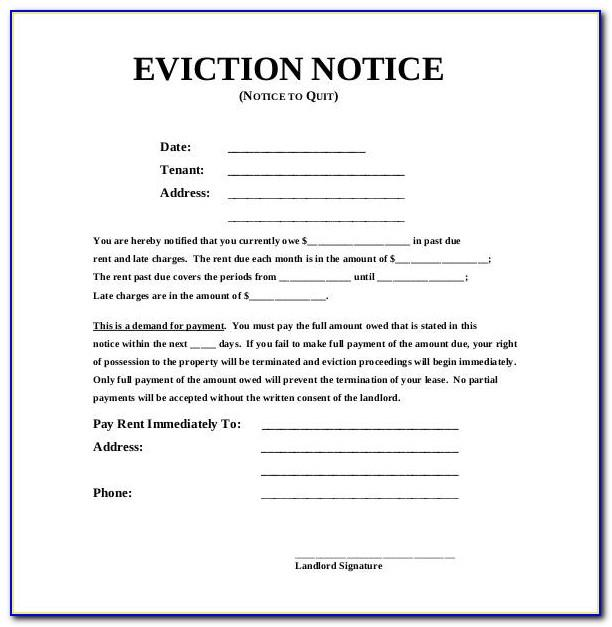 30 Day Eviction Notice Template Word