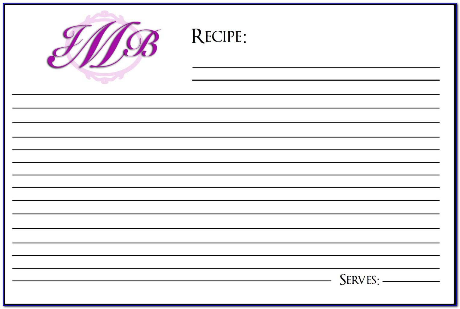 4 X 6 Recipe Card Template For Word
