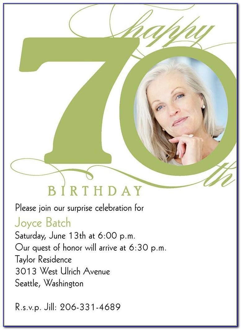 70th Birthday Party Invitation Templates Free