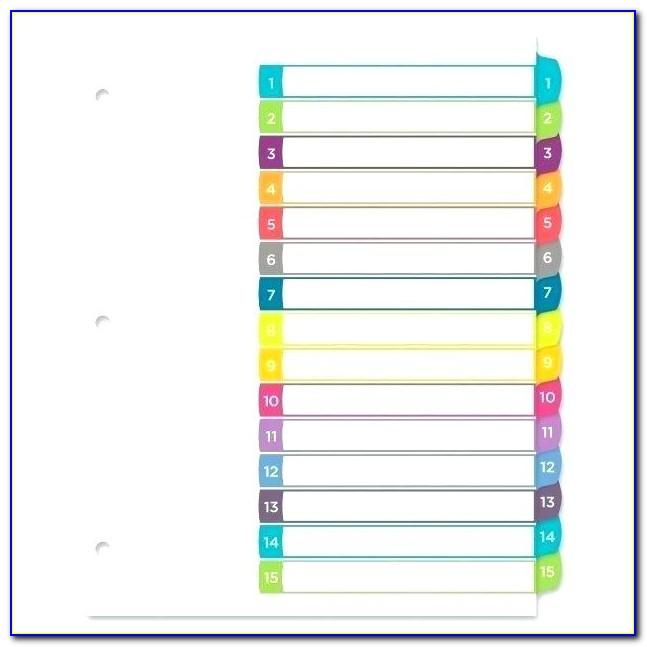 8 Tab Index Divider Template