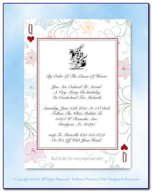 Alice In Wonderland Invitation Templates