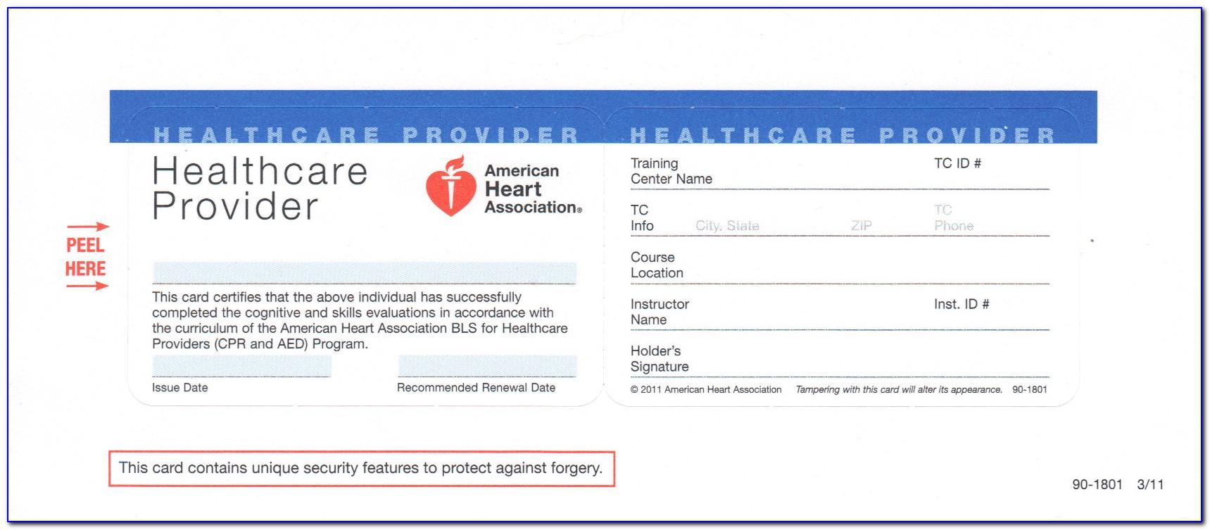 American Heart Association Cpr Card Template