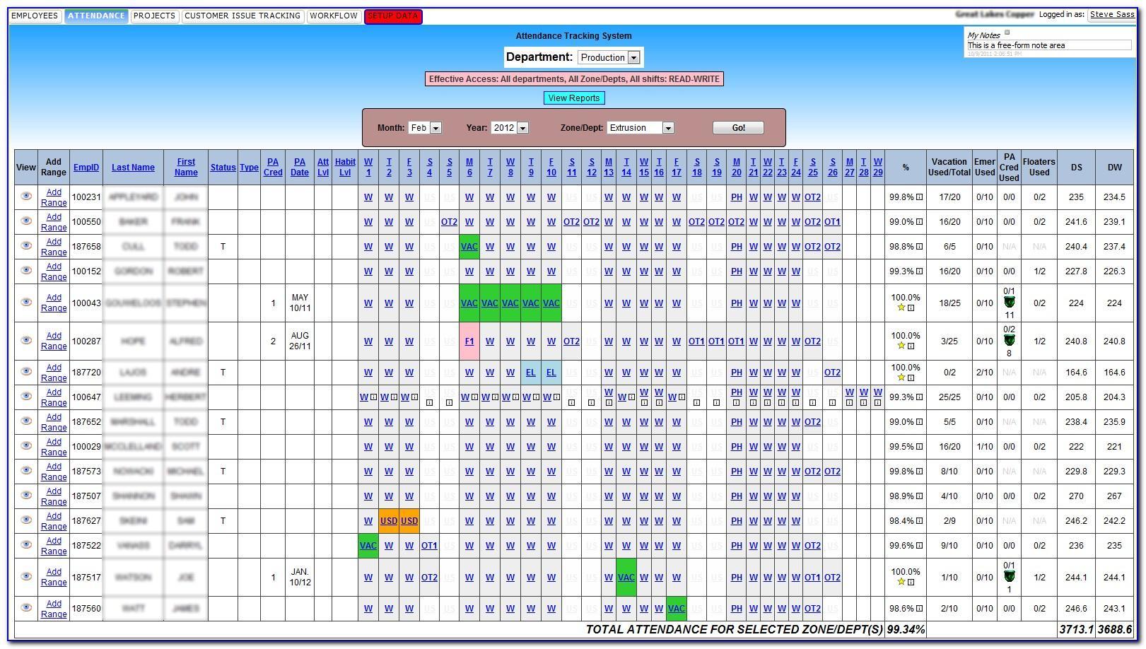 Attendance Spreadsheet Template Free