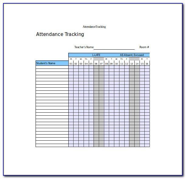 Attendance Tracker Template 2018