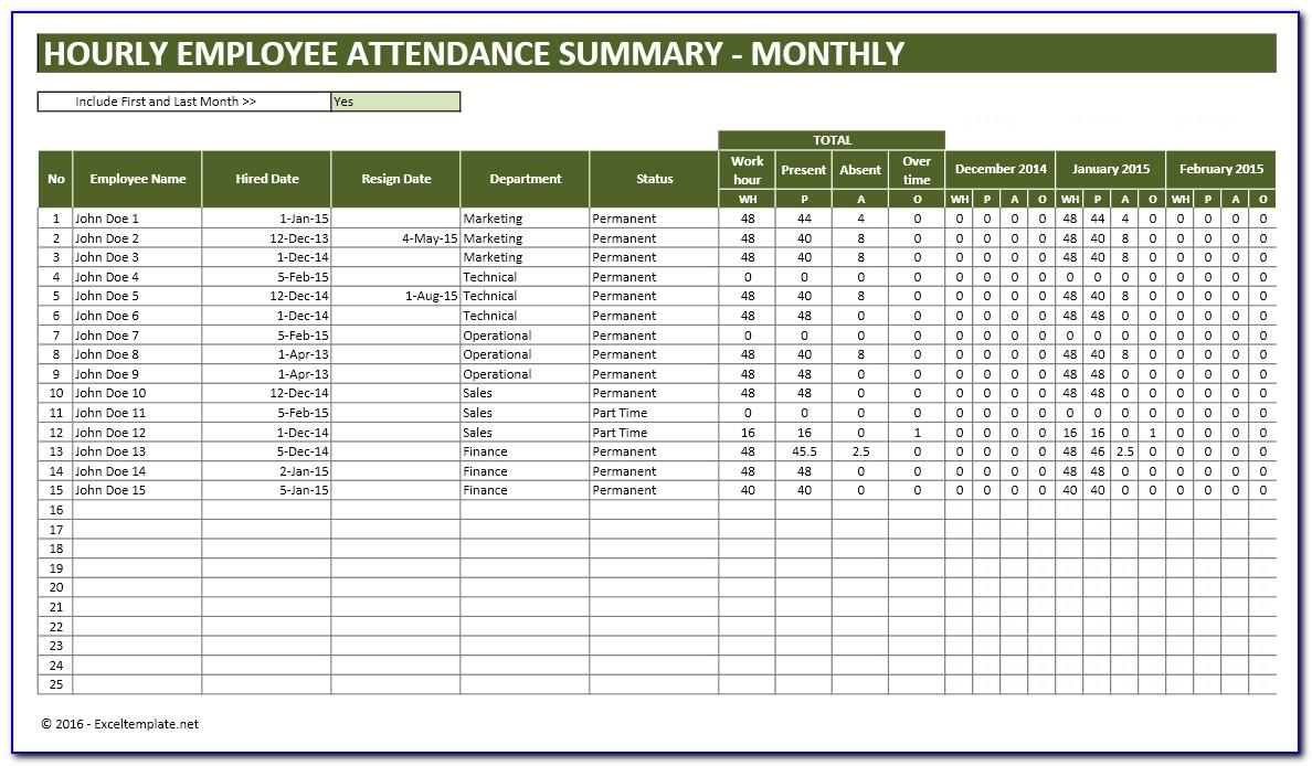 Attendance Tracker Template In Excel