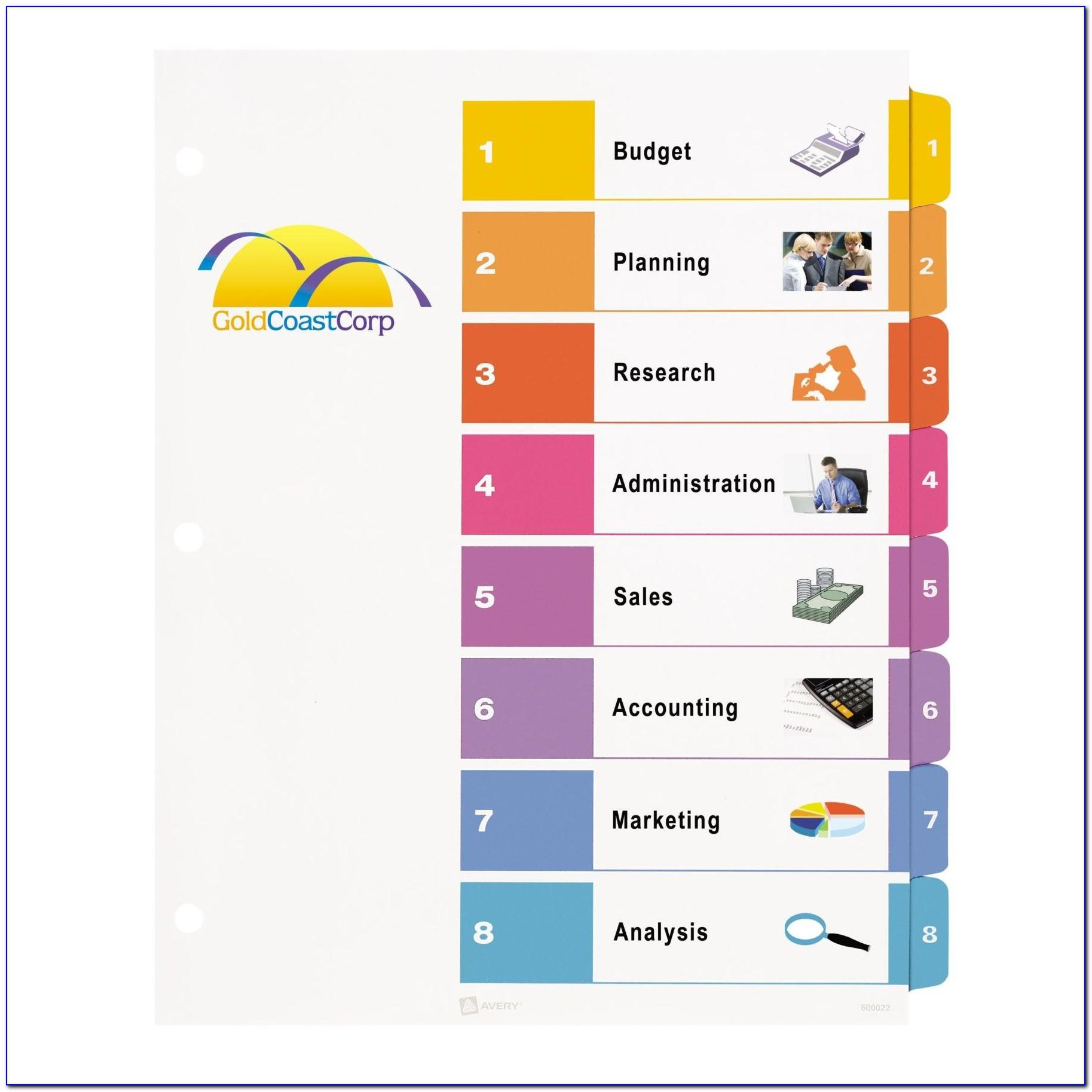 Avery 8 Tab Divider Template Download