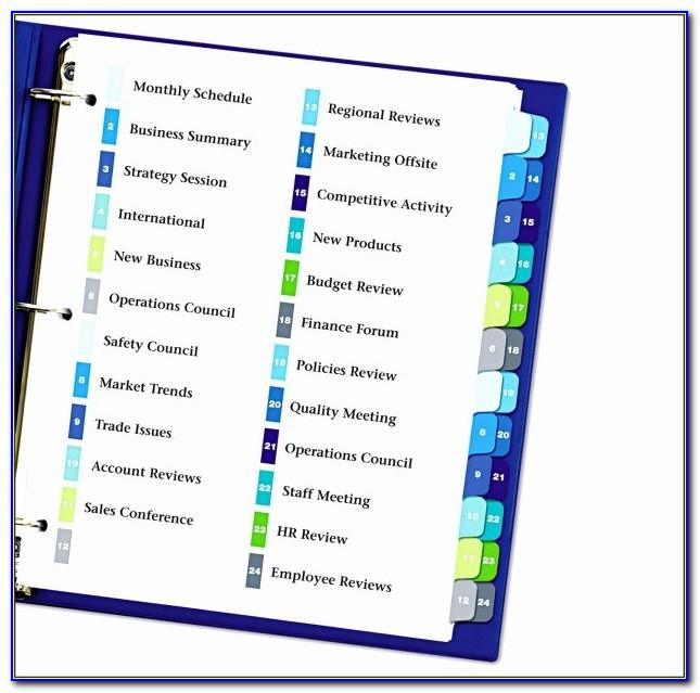 Avery Ready Index Template 10 Tab