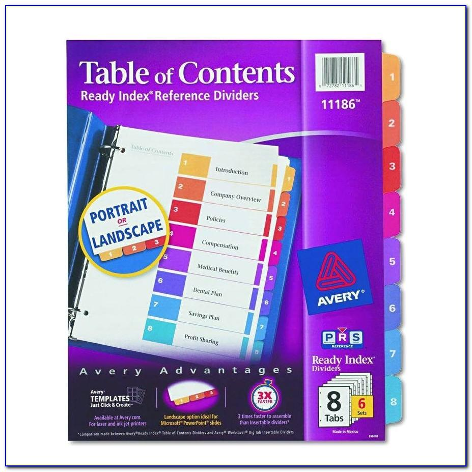 Avery Table Of Contents Template 25 Tab