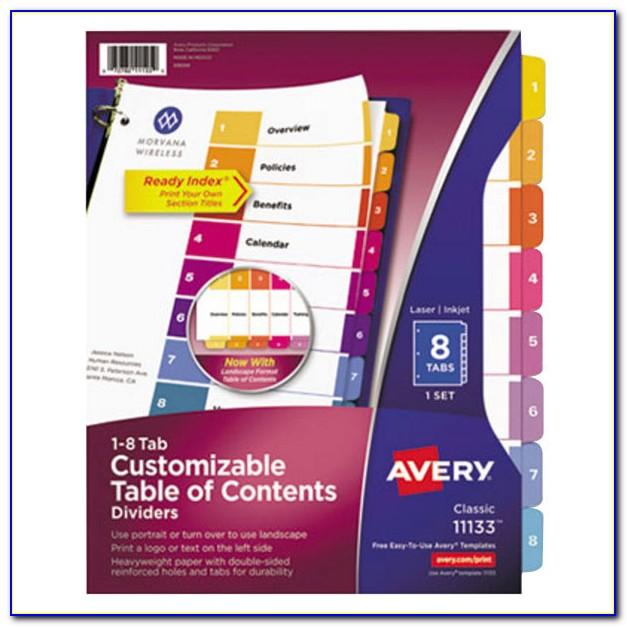 Avery Table Of Contents Template 31 Tab