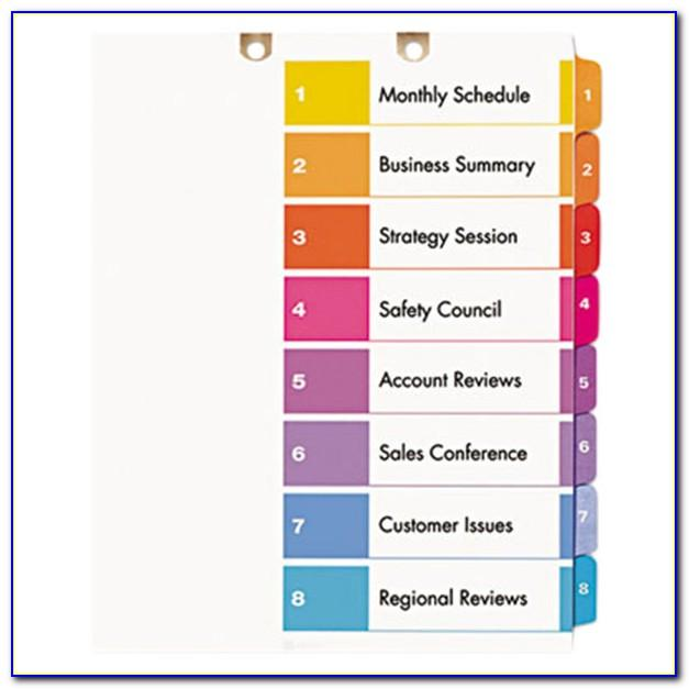 Avery Table Of Contents Template 5 Tab