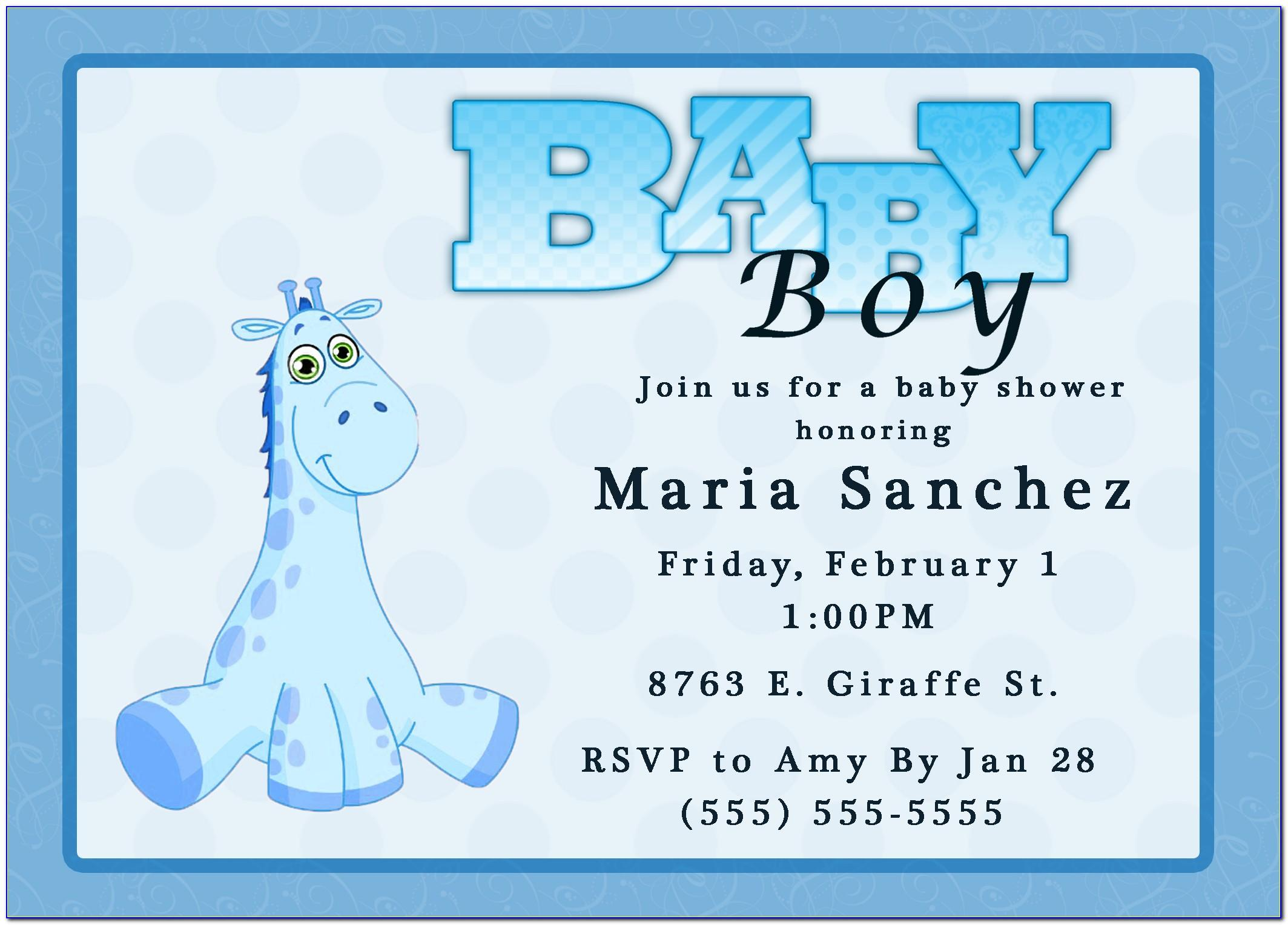 Baby Boy Shower Invitation Card Template Free Download