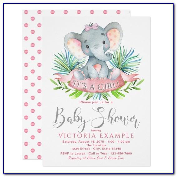 Baby Shower Invitations Girl Elephant