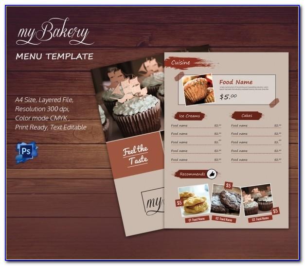 Bakery Menu Card Template