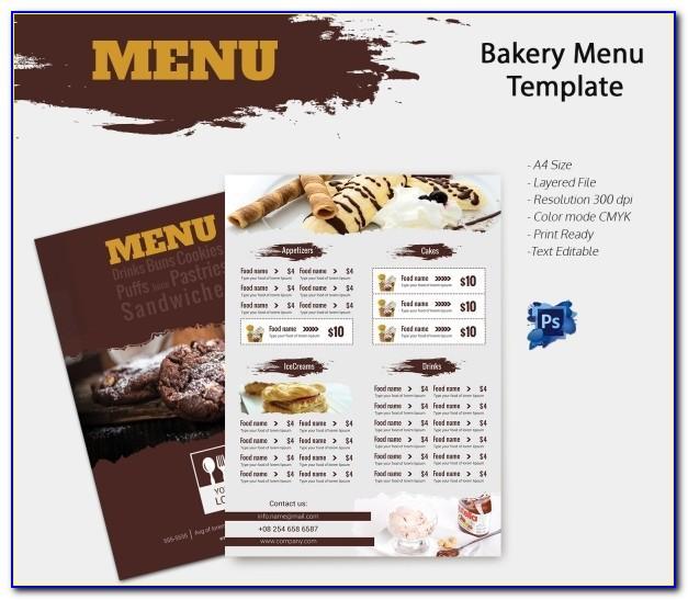 Bakery Menu Templates Free Download