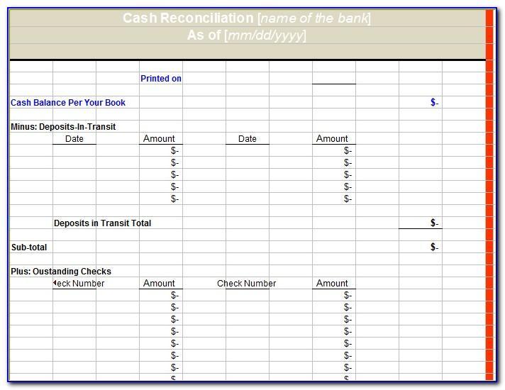 Bank Reconciliation Form Excel