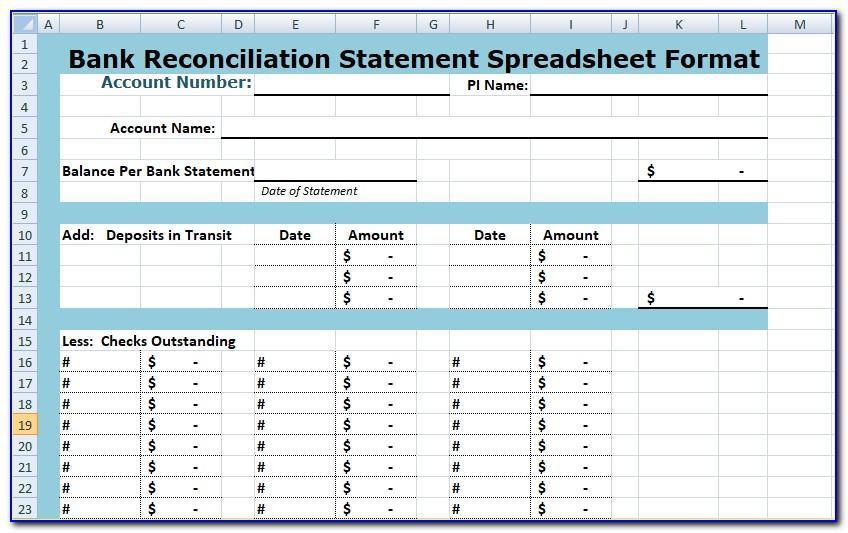 Bank Reconciliation Sample Excel