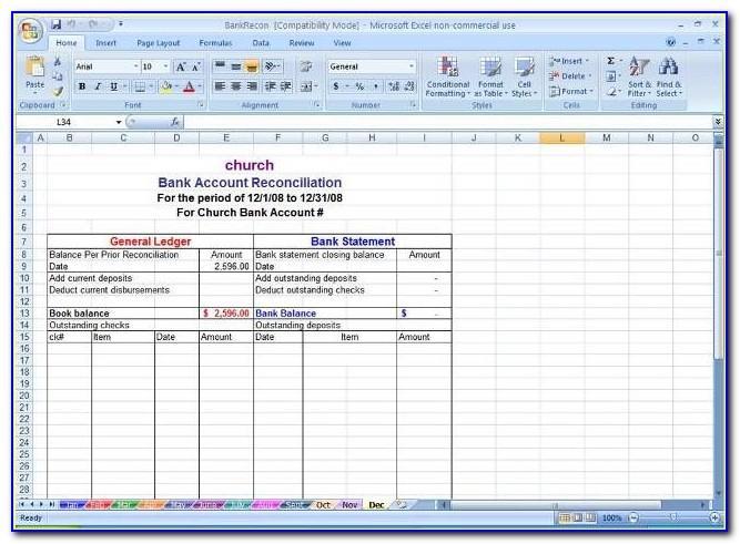 Bank Reconciliation Template Excel 2007