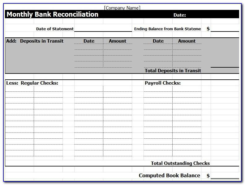 Bank Reconciliation Template Excel Free Download