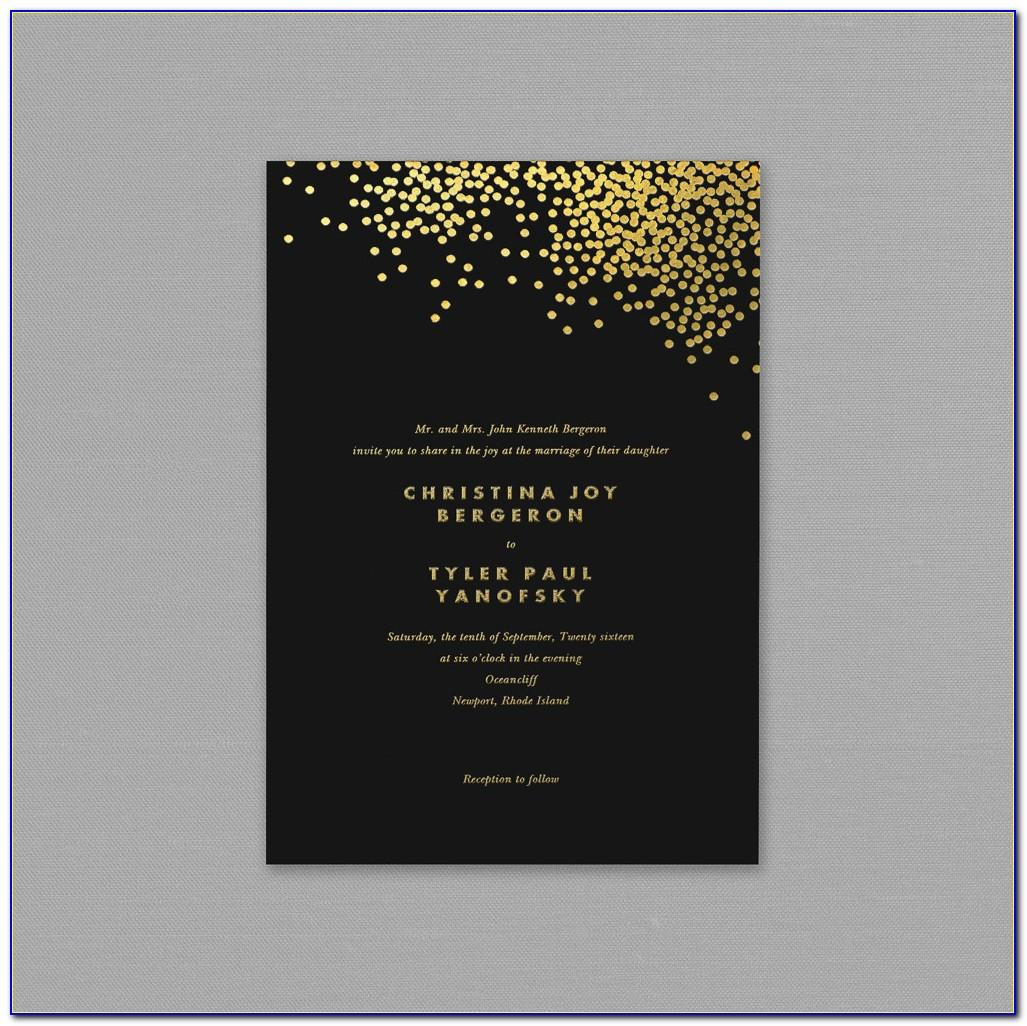 Black And Gold Wedding Invitation Template