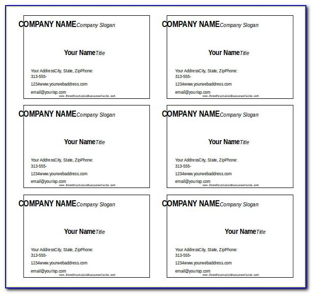 Blank Business Card Template Microsoft Word 2010