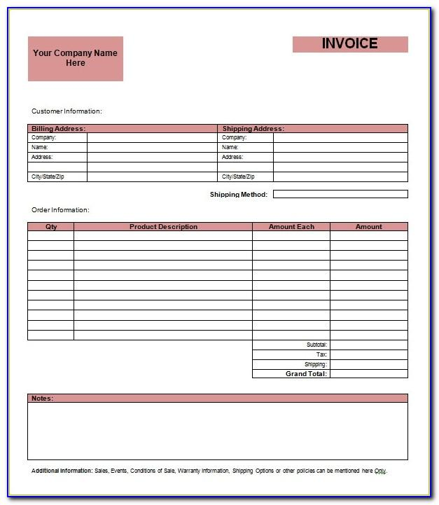 Blank Invoice Templates To Print
