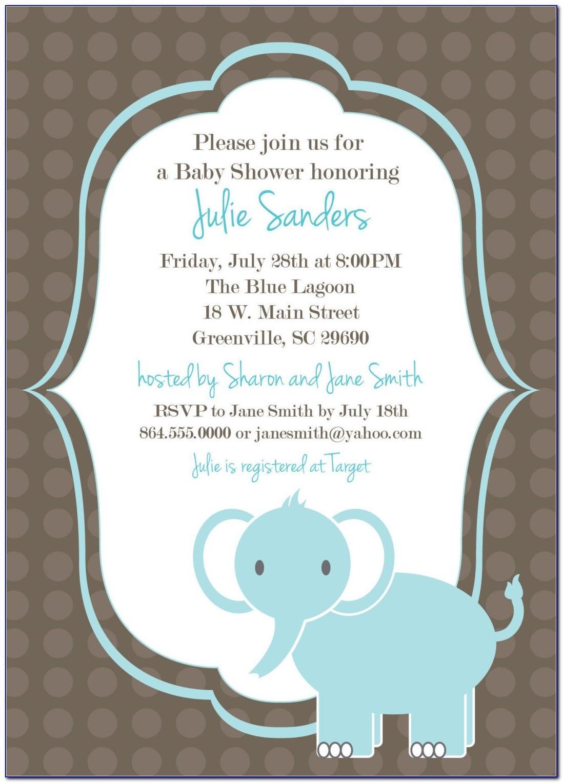 Blue Elephant Baby Shower Invitation Templates