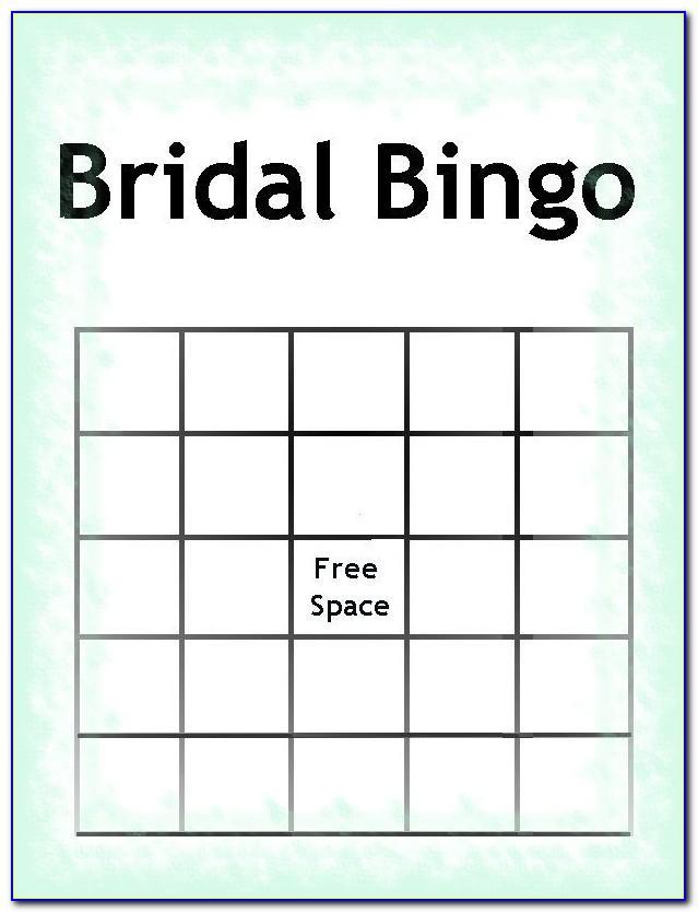 Bridal Bingo Template Blank Free