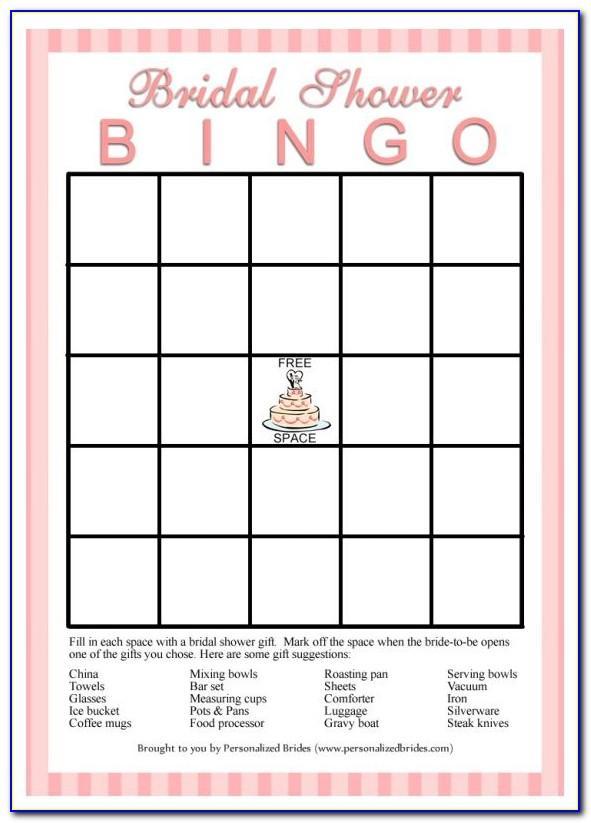 Bridal Shower Bingo Template Download