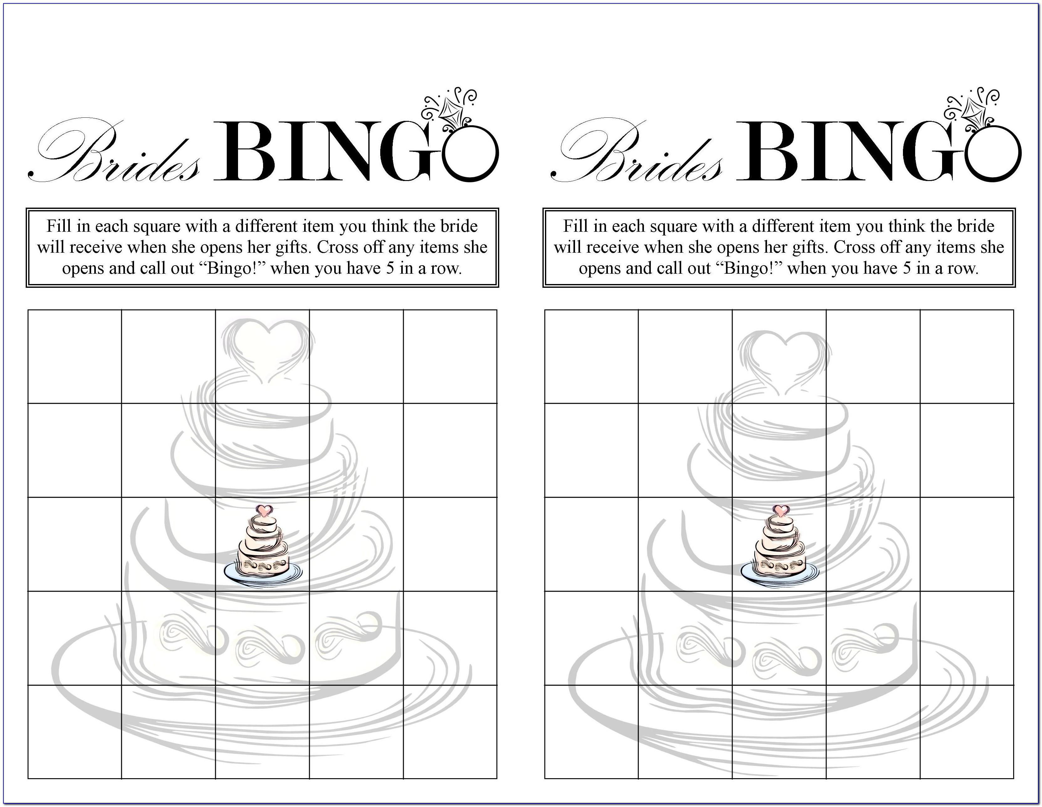 Bridal Shower Bingo Template Free Download