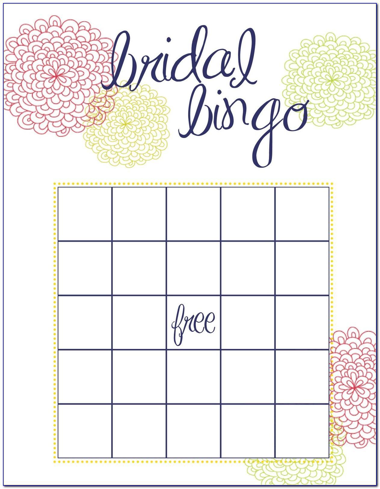 Bridal Shower Bingo Templates Printable