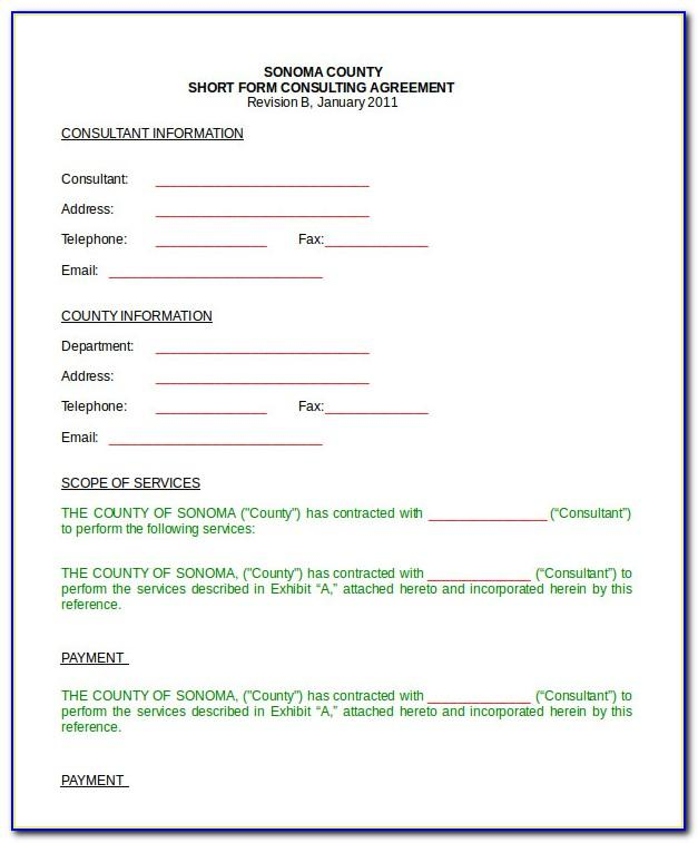 Business Consulting Agreement Short Form Template