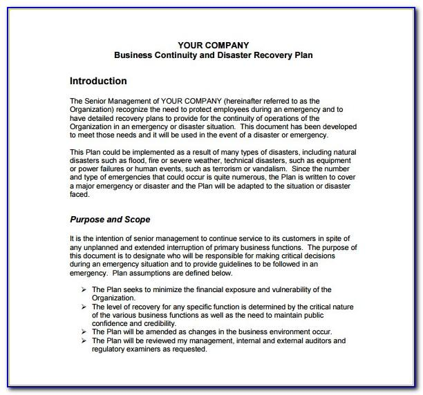 Business Continuity And Disaster Recovery Plan Example