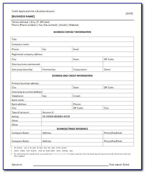 Business Credit Application Template South Africa